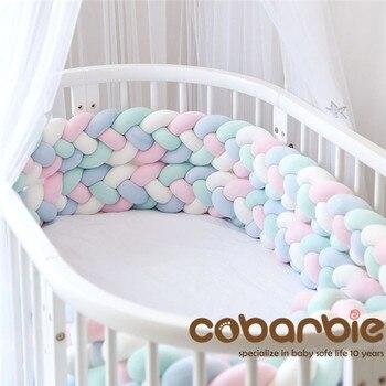 220 см длина увеличивающая рост детская плетеная кроватка бамперы 4 полосы Узел Длинная Подушка, детские постельные принадлежности, детская ...