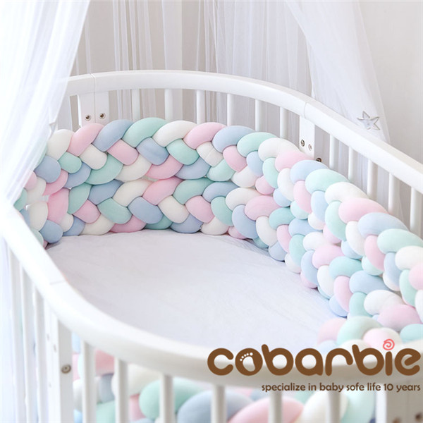 220cm Length Heightening Baby Braided Crib Bumpers 4 Strip Knot Long Pillow Cushion,Nursery Bedding,cot Room Dector