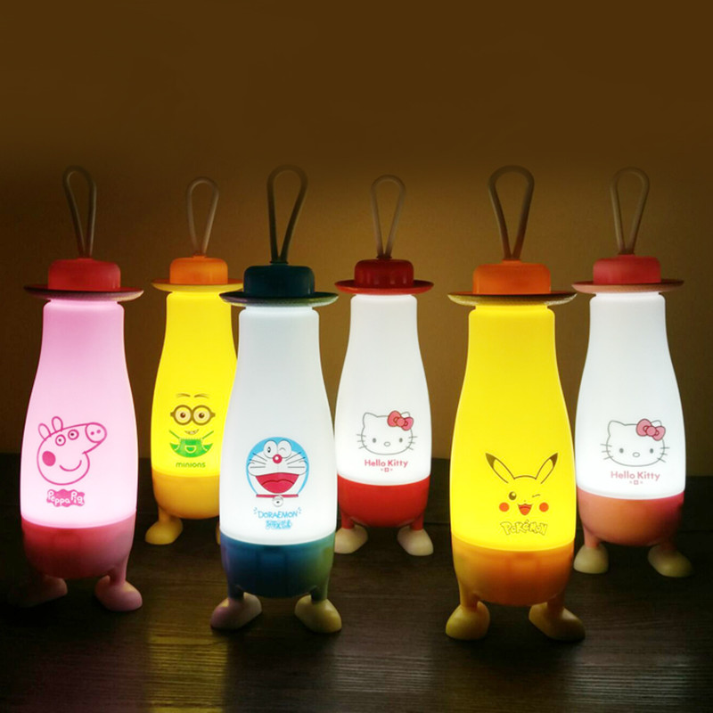 Creative cartoon LED portable USB rechargeable night light Wireless light bedroom table reading lamps indoor or outdoor lighting creative hose led desk lamps usb charger dimming lights reading desk lamps bedroom dormitory night light indoor lighting