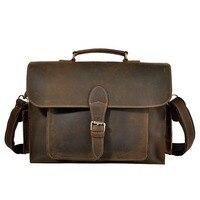 Men Real Leather Designer Business Briefcase 13 Laptop Document Case Fashion Commercia Attache Portfolio Crossbody Bag