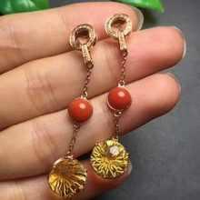 Fine Jewelry Real 18k Rose Gold AU750 G8K 100% Nature Citrine Stone Earrings Gemstones Female Earrings Fine Gift women earring