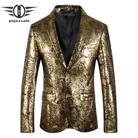 Plyesxale Floral Blazer Men 2018 Red Silver Gold Blazer For Wedding Slim Fit 4XL 5XL Plus Size Casual Male Blazer Jacket Q118