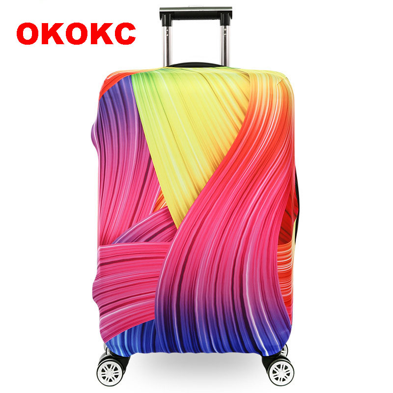 OKOKC Brilliant Rainbow Thickest Protective Luggage Cover Waterproof Travel Luggage Cover Suit for 18-30'' Case Elastic 1 pcs creative botanic cactus cartoon gel pen black ink 0 5mm signing pen school office supply gift stationery papelaria escolar