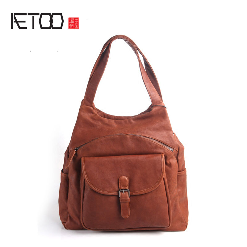 AETOO Pure leather Europe and the United States and Japan and South Korea fashion retro female models large leather casual shoul the pure abscess
