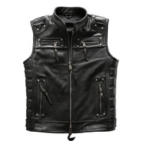 For super Motor rider Mens high quality cow leather vest genuine cowhide leather motorcycle rider vest HA 97181