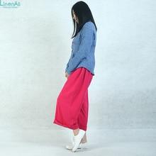 LinenAll girls's clothes, rose crimson wide-leg pants feminine,100% pure linen comfortable pants,unique design linen pants capris BMF