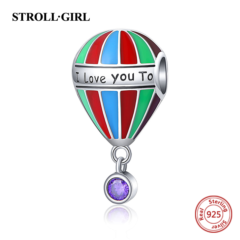 Fit Authentic pandora Charms Bracelets Silver 925 color enamel Balloon Beads Sterling-silver-Jewelry For Lover women boy gifts