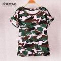 Más el tamaño Del Ejército de Camuflaje Camisetas Personalizadas mujeres jersey de manga Murciélago camisetas de Algodón Elástico Modal tops tee FS0025