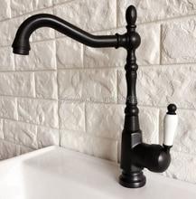 Черный Масло втирают Бронзовый кран Керамика одной ручкой Кухня кран холодной и горячей воды раковина смеситель для умывальника смесители Wnf387