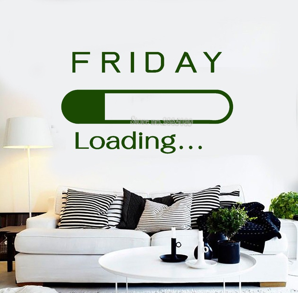 Friday Loading Vinyl Wall Sticker Office Art Home Interior Stickers Removable Vinilos Paredes DIY Custom Colors Wallpapers LA446