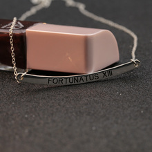 925 Solid Silver Charm Engraved Name Customized Necklace Horizontal Stamp Encourage Words Personalized Necklace Women