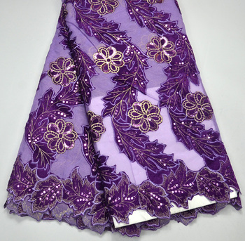 Latest  Classics High Quality Purple French Net lace Purple Velvet lace Fabrics With 3D Flowers Sequins Fabrics For Bridals