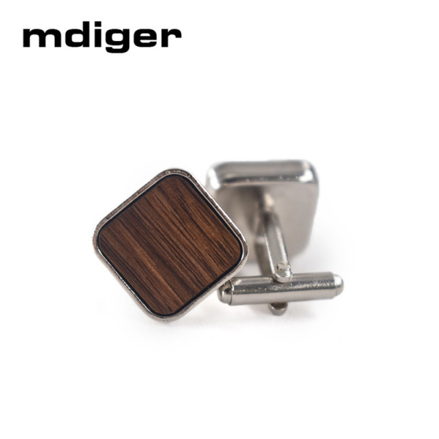Mdiger Trendy Round Wood Cufflinks Blank Walnut Cuffs Shirt Cuff Link Jewelry