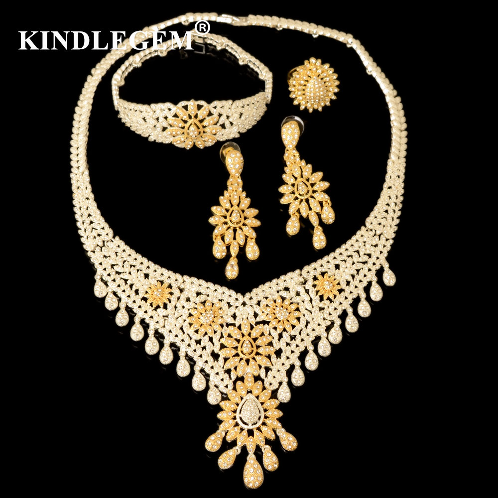 Kindlegem Luxury Parure Bijoux Femme Dubai Gold Silver Necklace Sets Fashion Indian African Beads Tassel Jewellery For Women 2016 cross shape rhinestone hollow out silver plated jewellery sets stylish indian wholesale fashionable jewellery sets
