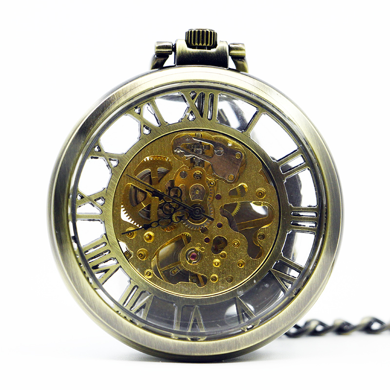 Hot Selling Vintage Bronze Golden Glass Case Hollow Roman Number Skeleton Steampunk Mechanical Pocket Watch PJX1229