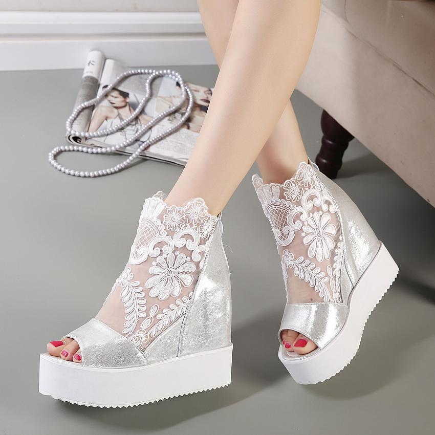 Newest white silver sexy lace platform wedge heels dress shoes ...