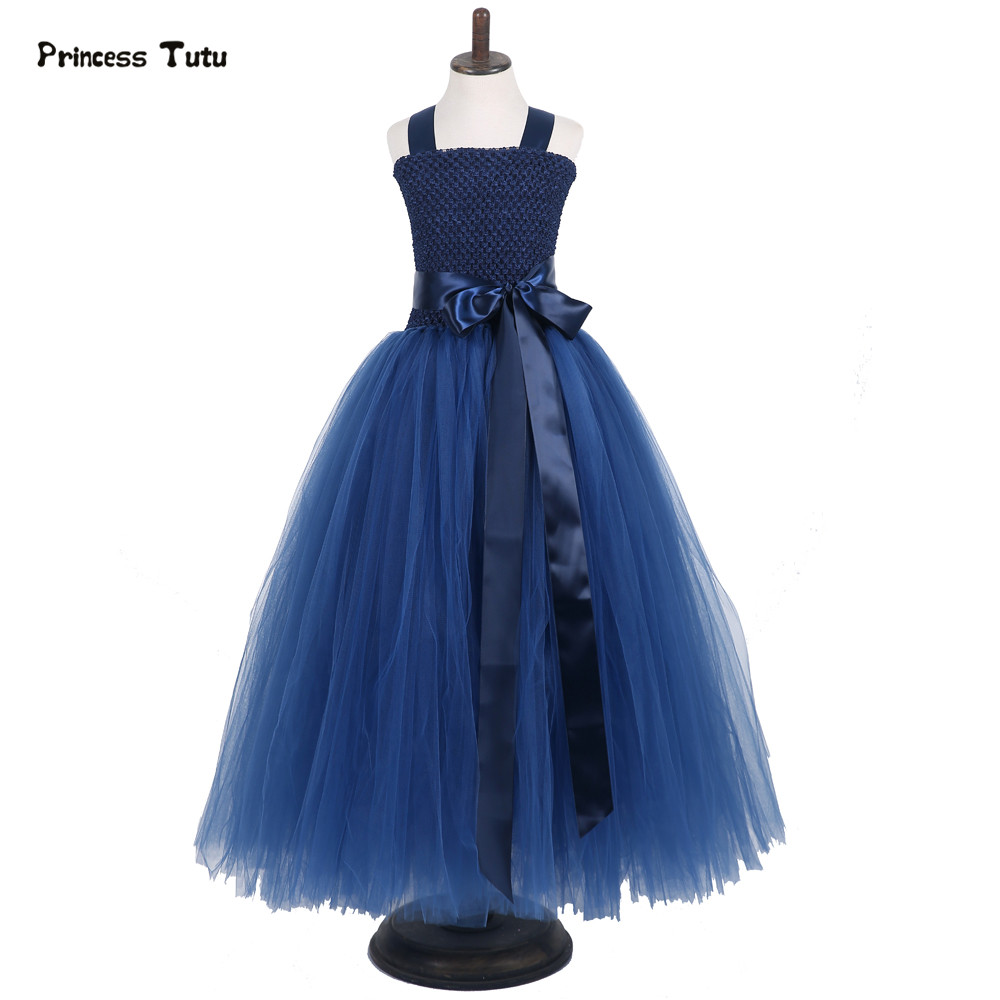 Lace Tulle Flower Girl Evening Dress Ball Gown Children Kids Elegant Pink,Navy Blue Tutu Dress Princess Wedding Party Vestidos silver gray purple pink blue ball gown tutu soft tulle puffy flower girl dress baby 1 year birthday dress with spaghetti straps