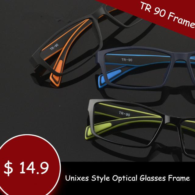 TR 90 Óculos Esporte Estilo Armações de Óculos Homens e Mulheres Óculos de Olho Preto