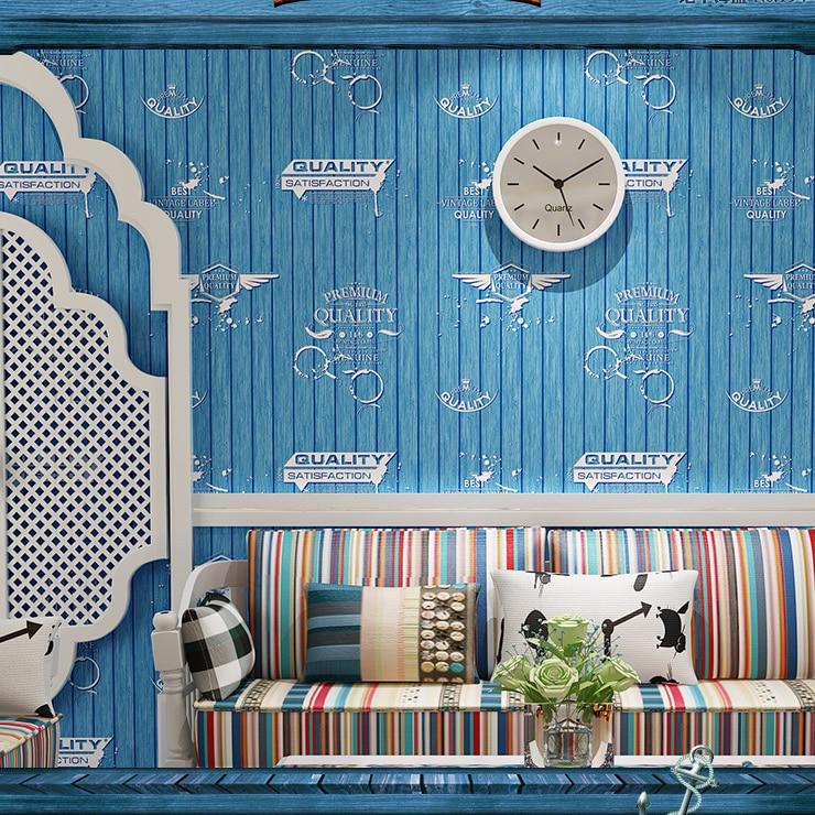 ФОТО 2016 Wood non-woven wallpaper kid bedroom of children room blue yellow restoring ancient