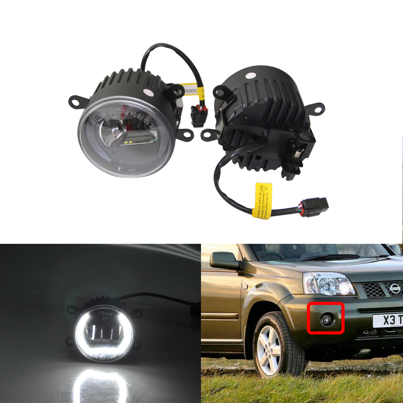 New Front Led Fog Light Assembly Kit W/ Guide DRL Halo Rings For Nissan NAVATA X-TRAIL X TREEA Pathfinder Car Styling Car Lights