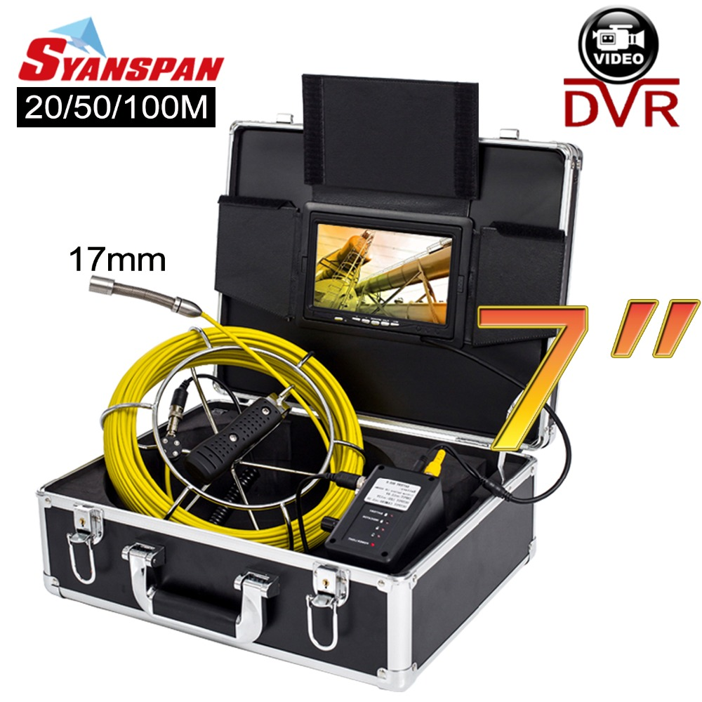 SYANSPAN 20 50 100M Pipe Inspection Video Camera 17mm 8GB SD Card DVR IP68 Drain Sewer