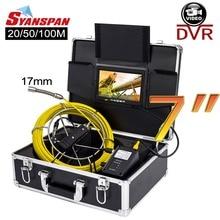SYANSPAN 20/50/100 м внутритрубный инспекционный прибор видео Камера, 17 мм 8 Гб SD карты DVR IP68 Слива канализационных труб промышленный эндоскоп 7
