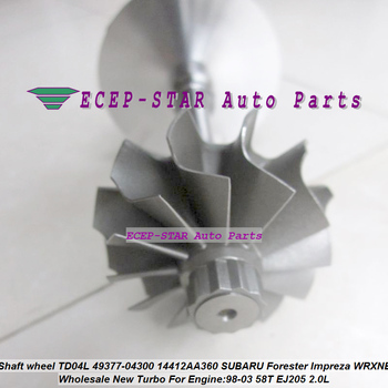 Conjunto do eixo da turbina Turbo rotor roda TD04L 49377-04300 Turbocharger Para SUBARU FORESTER Impreza 97-WRX-NB 58 t EJ205 2.0L