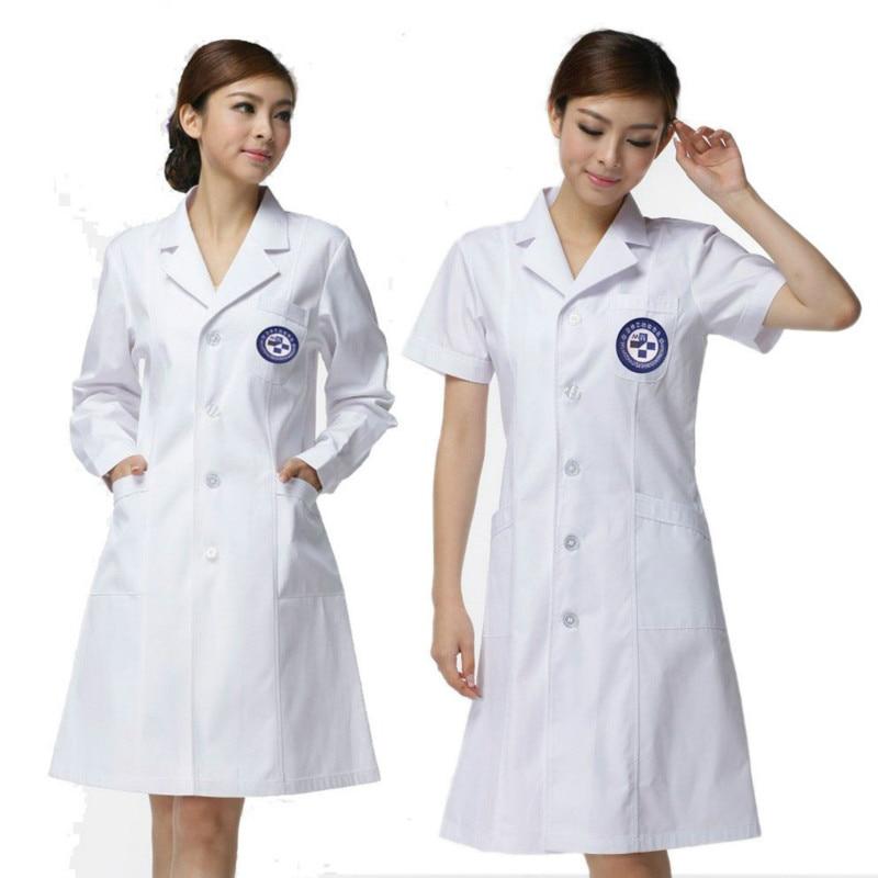 2018 Long Sleeve Women Medical Coat Nurse Services Uniform Medical Scrub Clothes White Lab Coat Hospital Doctor Clothes