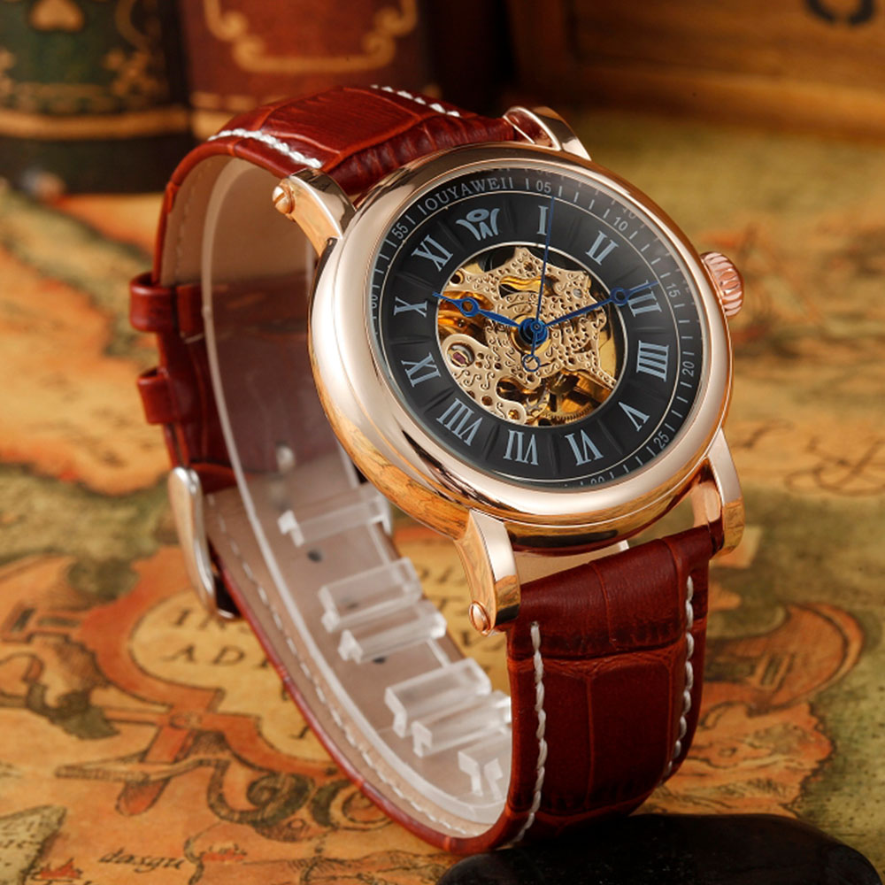Red Genuine Leather Strap Men watch Luxury Automatic Wrap Gift Wrist Clock Business Men's Mechanical Self Wind Watches OUYAWEI