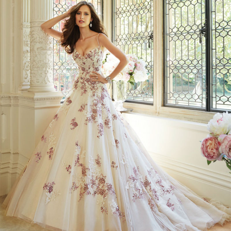 2017 new design sweet flower white and purple applique long lace up wedding dress bridal