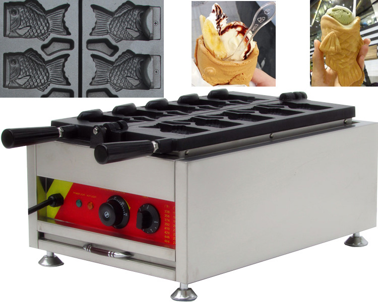 CE approved korea ice cream taiyaki machine, auto waffle fish ice cream machine free shiping fried ice cream machine 75 35cm big pan with 5 buckets fried ice machine r22 ice pan machine ice cream machine