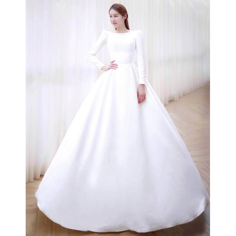 Satin A Line Wedding Dresses With Button 2019 Long Sleeves Wedding Gowns Backless Bridal Dress Sweep Train