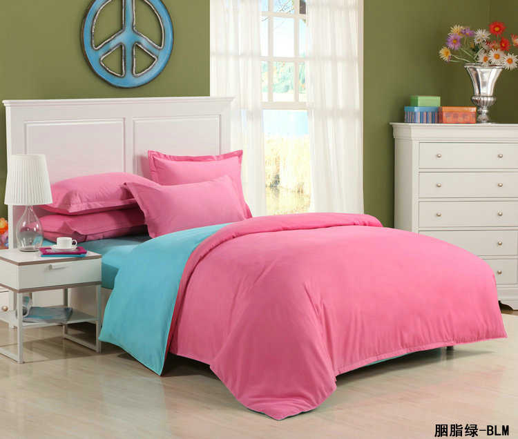 2016 Bedding Set Solid Bed Set Duvet Cover Sheet Twin Full Queen Size Bed Linen pink blue red fray green purple