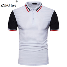New 2018 Casual Brand T-shirt Men's Turn-down Collar summer Short Sleeve striped color patchwork t Shirt dress men EU/US size цены