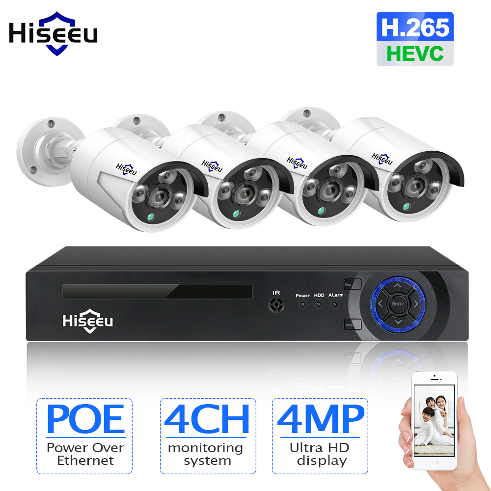 H.265 CCTV System POE NVR kit 4ch 4MP waterproof POE IP camera bullet Home Security camera system outdoor low lux onvif Hiseeu hikvision ultra low light ds 2cd3t26wd i5 2mp cctv h 265 ip bullet camera support onvif poe ir 50m waterproof outdoor
