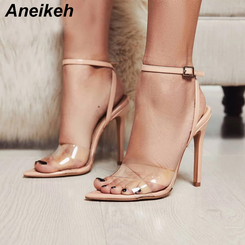 Detail Feedback Questions about Aneikeh Summer Clear Sandals Women  Transparent High Heels PVC Cross Stilettos Ankle Strap Perspex Heeled  Western Design ... 0df80ef95f10