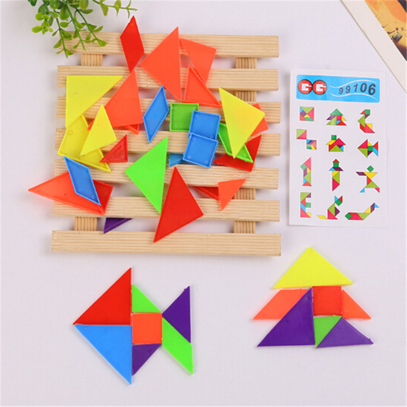 Learning Education Jigsaw Puzzle Toys Brain Plastic 3D Puzzle Tangram Teaser Tetris Geometric Shape Jigsaw Game For Children