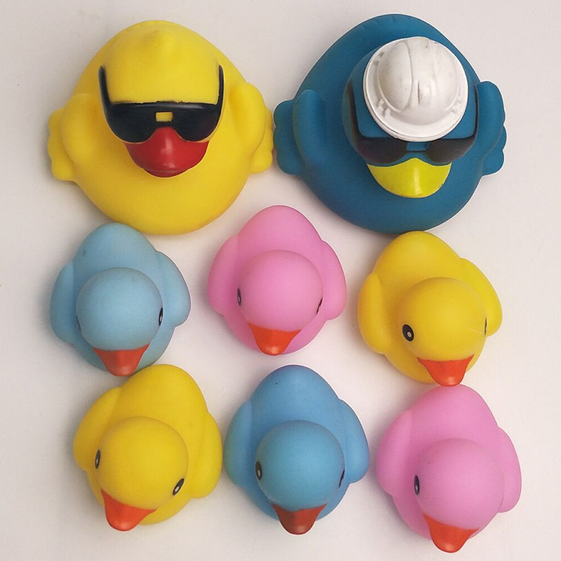 8pcs 2018 new children learn about duck with floating sunglasses with water rubber best choice for baby shower to ...