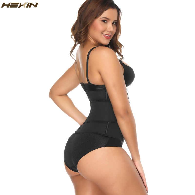 Hexin 네오프렌 사우나 땀 허리 cincher 지퍼 코르셋 바디 셰이퍼 복부 슬리밍 벨트 배 트리머 shapewear