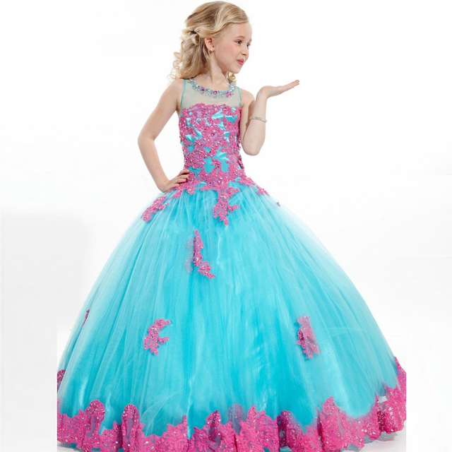 49afab19393 Princess Ball gown Little Girls pageant dresses with Fuchsia Appliques lace  Beads Tulle Lovely Flower girl dress Custom made