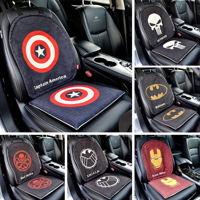 Marvel Cartoon The Avengers Batman Captain Car Seat Cover Universal Protector Mat Auto Cushion Set