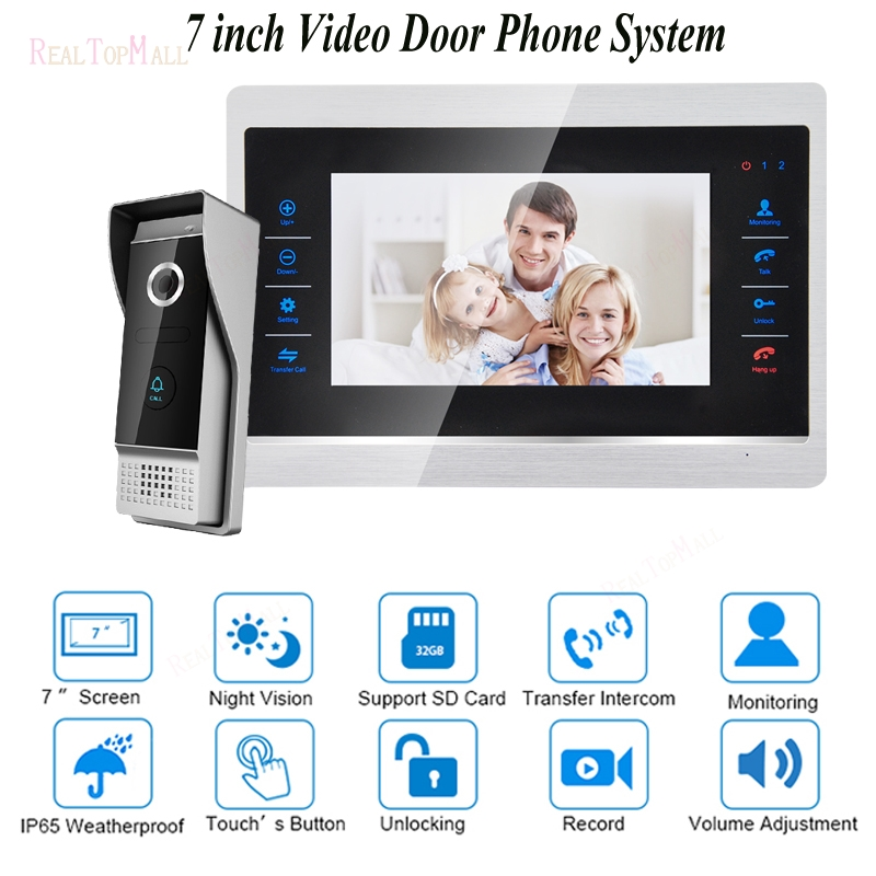 7 Inch TFT HD 1200TVL Video Door Phone With Security System Home Video Intercom videoportero Waterproof 1V17 Inch TFT HD 1200TVL Video Door Phone With Security System Home Video Intercom videoportero Waterproof 1V1