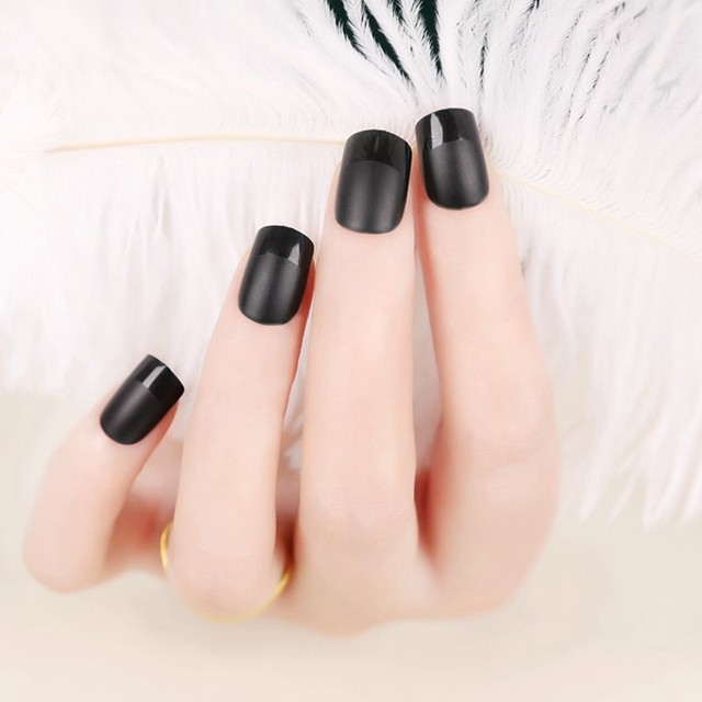 New Matte Black Fake Nails Design French With Free Glue Box Nail Stickers Tips False