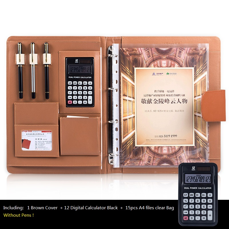 A4 Office Desk Organizer PU Leather Large Padfolio, Business Notebook with Calculator Spiral File Bags, Office Supplies deli 1541a calculator teaching resources mathematics big button calculator large screen calculator finance office 1pcs