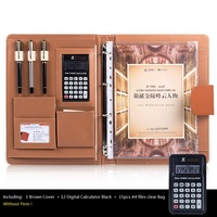 A4 Office Desk Organizer PU Leather Large Padfolio, Business Notebook with Calculator Spiral File Bags, Office Supplies
