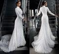 De alta pescoço lindo Modest branco Lace Applique Beading muçulmano Hijab vestidos de casamento mangas compridas vestido de noiva