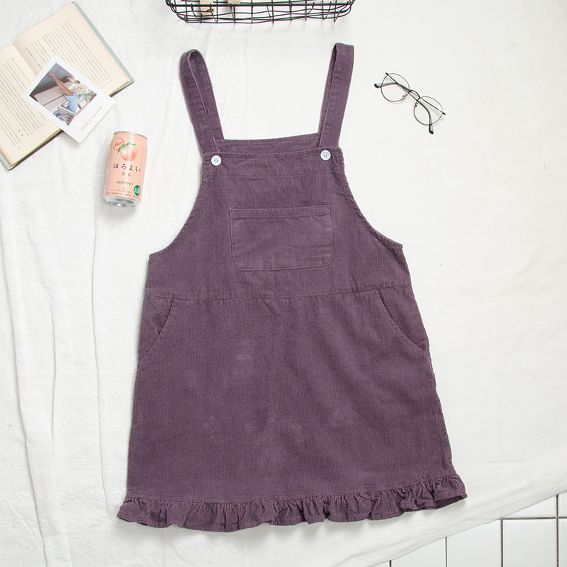 2018 Women Retro Corduroy Dress Autumn Suspender Sundress Kawaii Ruffles Overall Dress Spring Japanese Cute Female Casual Dress