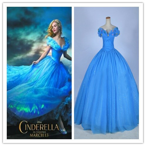 2015 New Movie Cinderella Princess Dress Adult Women Deluxe Blue Wedding Costume Halloween Cosplay On Aliexpress