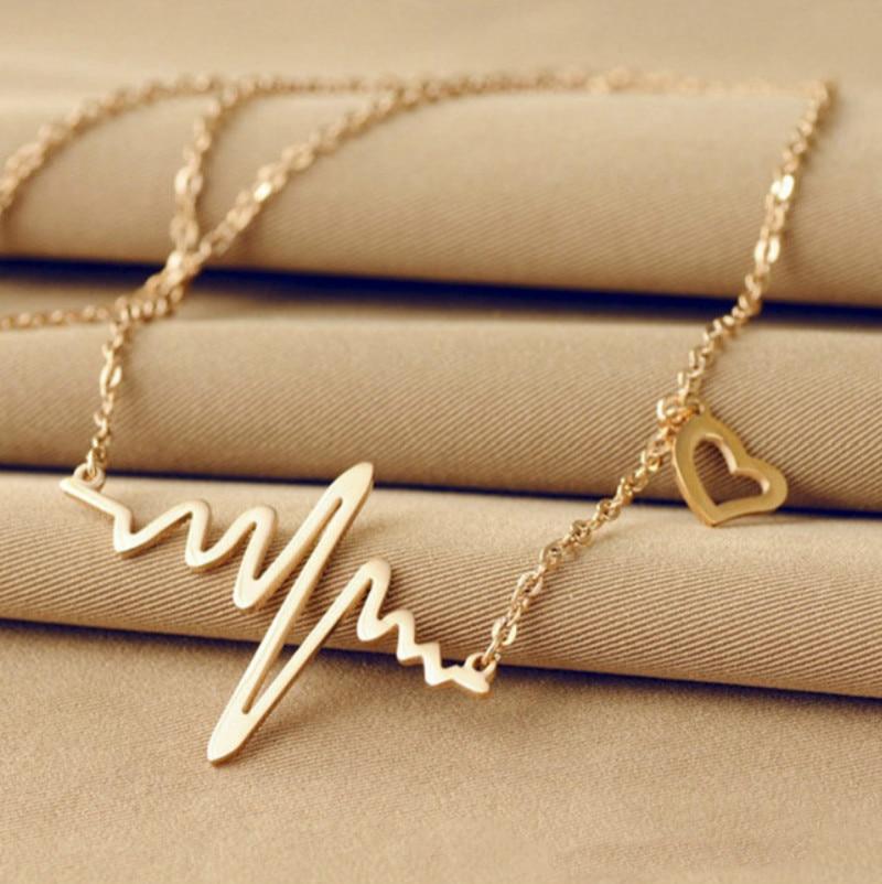 2016 ola de calor Ecg Simple Heart Beat Chic collar pendiente plateado oro de rayo collar segunda mano  Se entrega en toda España
