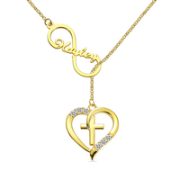 Wholesale Gold Color Necklace Infinity Name Heart Cross Necklace Customized Infinity Name Necklace For Gift
